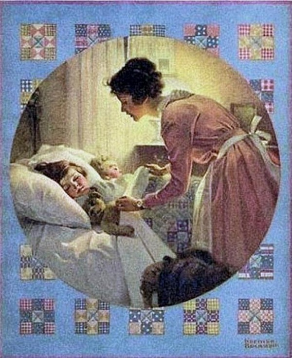 Norman Rockwell. A Mother Tucking Children Into Bed. 1921