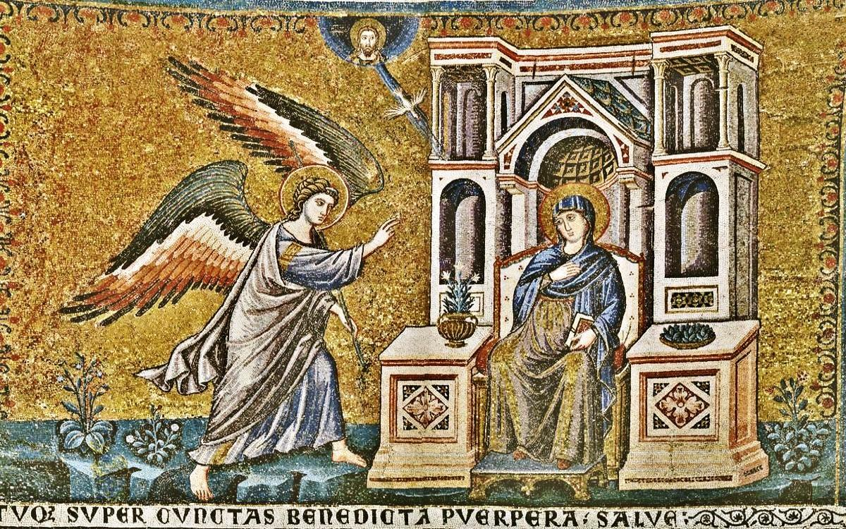 The Annunciation. Basilica di Santa Maria in Trastevere. Roma ITALY. 1291 »  Pietro Cavallini. The Annunciation. Basilica di Santa Maria in Trastevere.