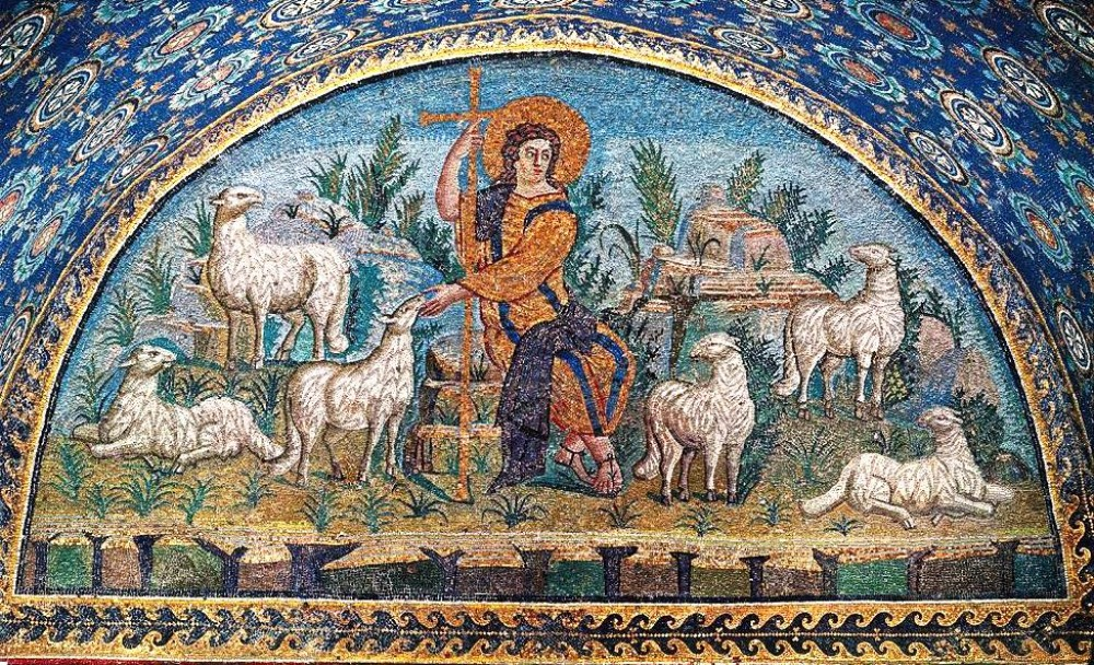 Unknown Artist. The Good Shepherd. Mausoleum of Galla Placidia. Ravenna (Italy). first half of the 5th century