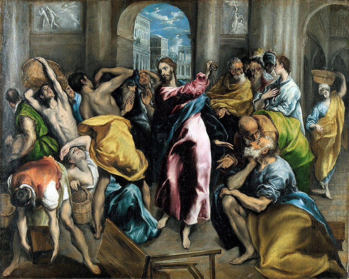 00 El Greco (Domenikos Theotokopoulos). Christ Purifying the Temple. 1600