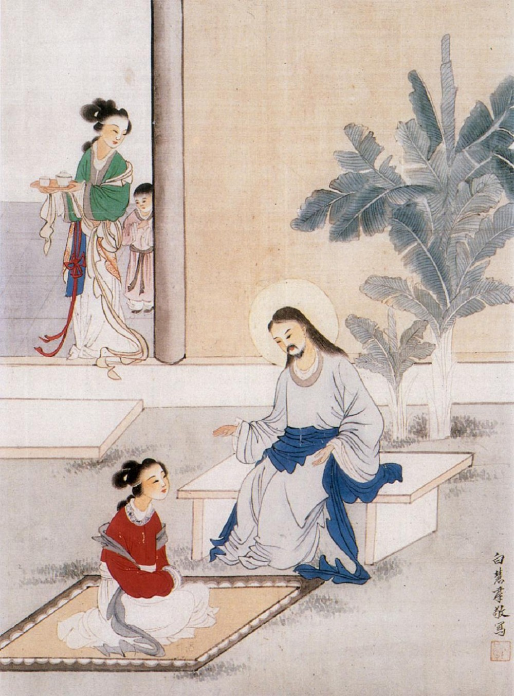 Unknown artist christ in the house of martha and mary for Christian mural paintings