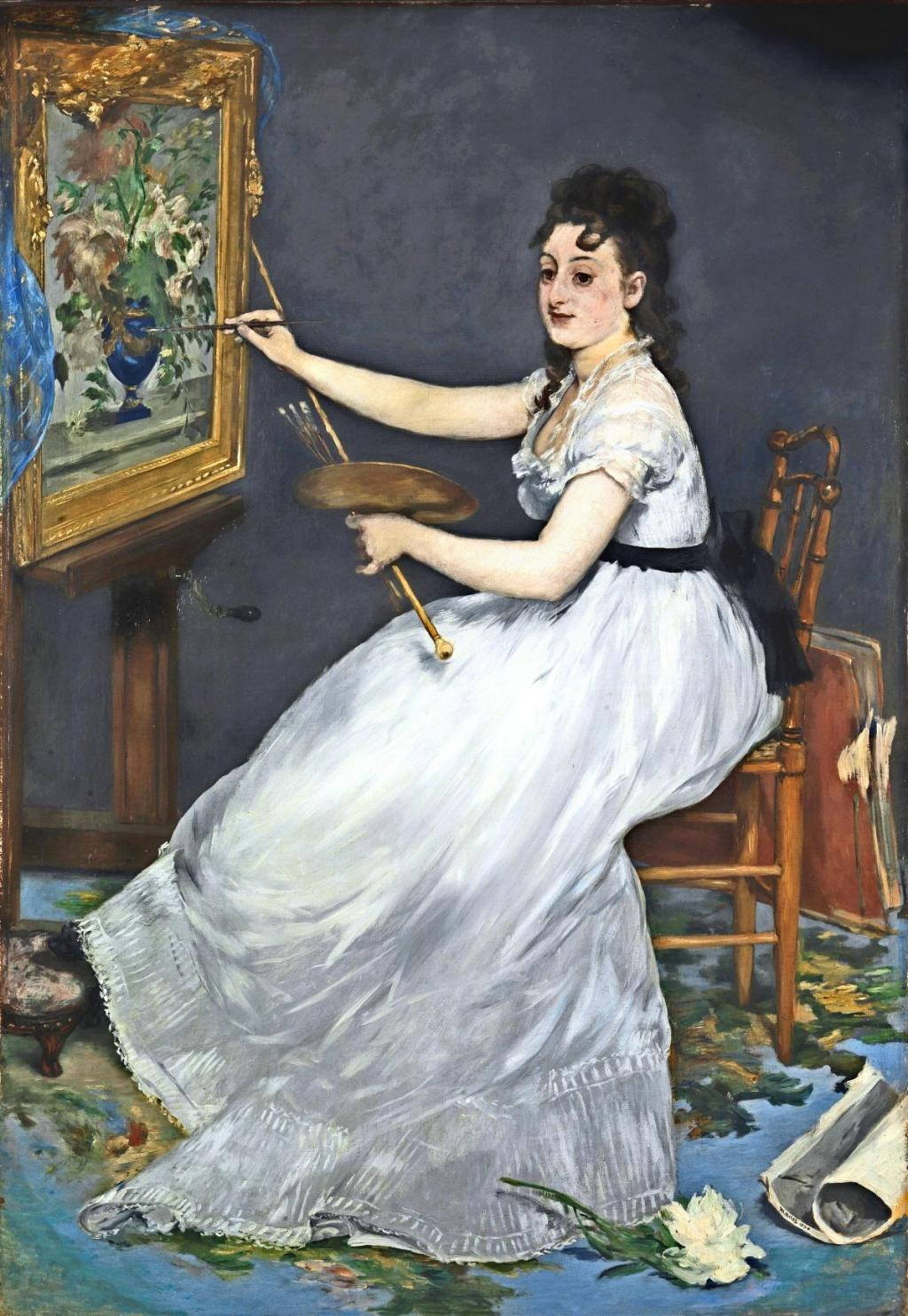 Édouard Manet. A Portrait of Eva Gonzalès in Manets Atelier. 1870