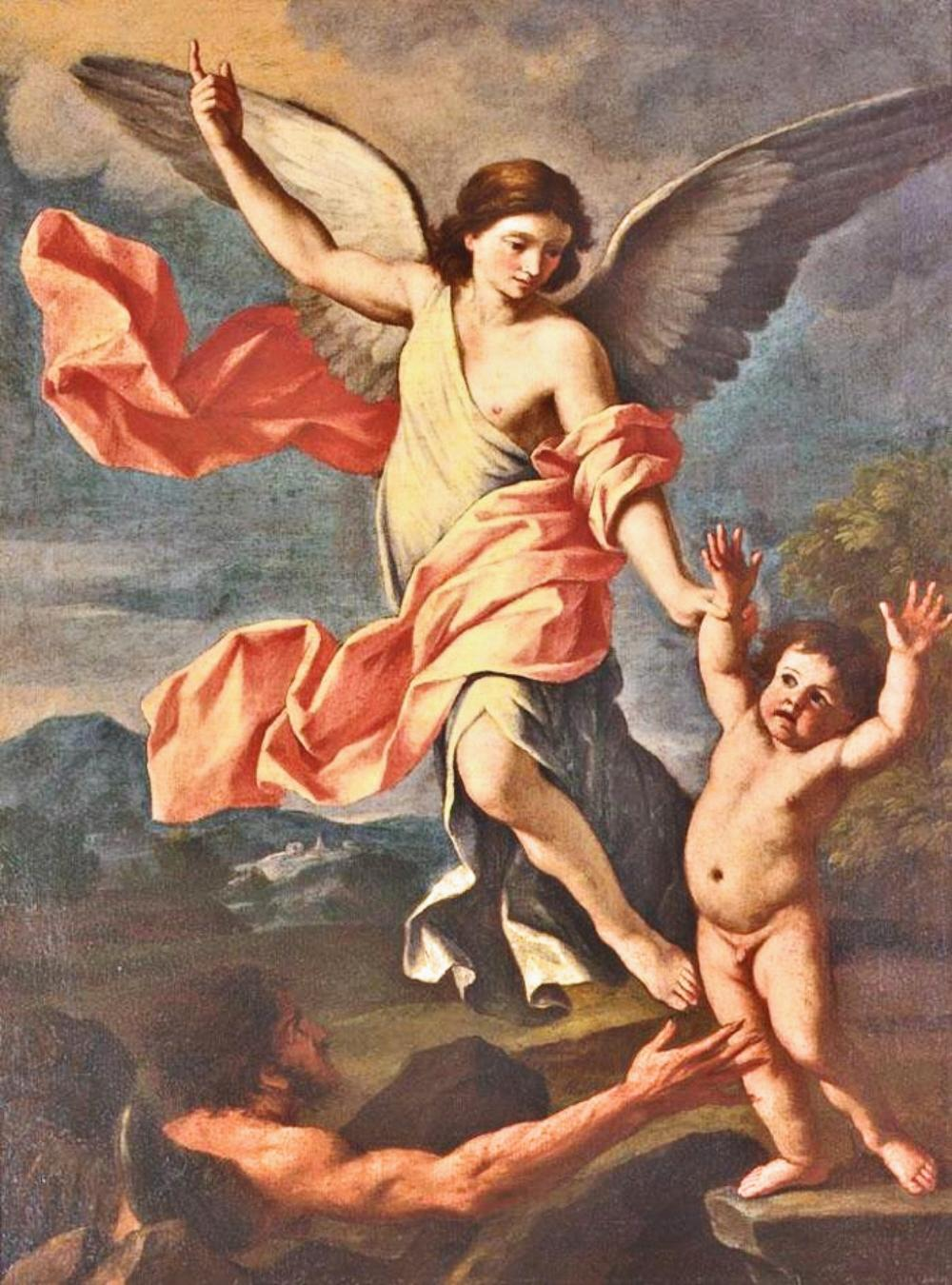 Giacinto Gimignani. An Angel and a Devil Fighting for the Soul of a Child. 17th century