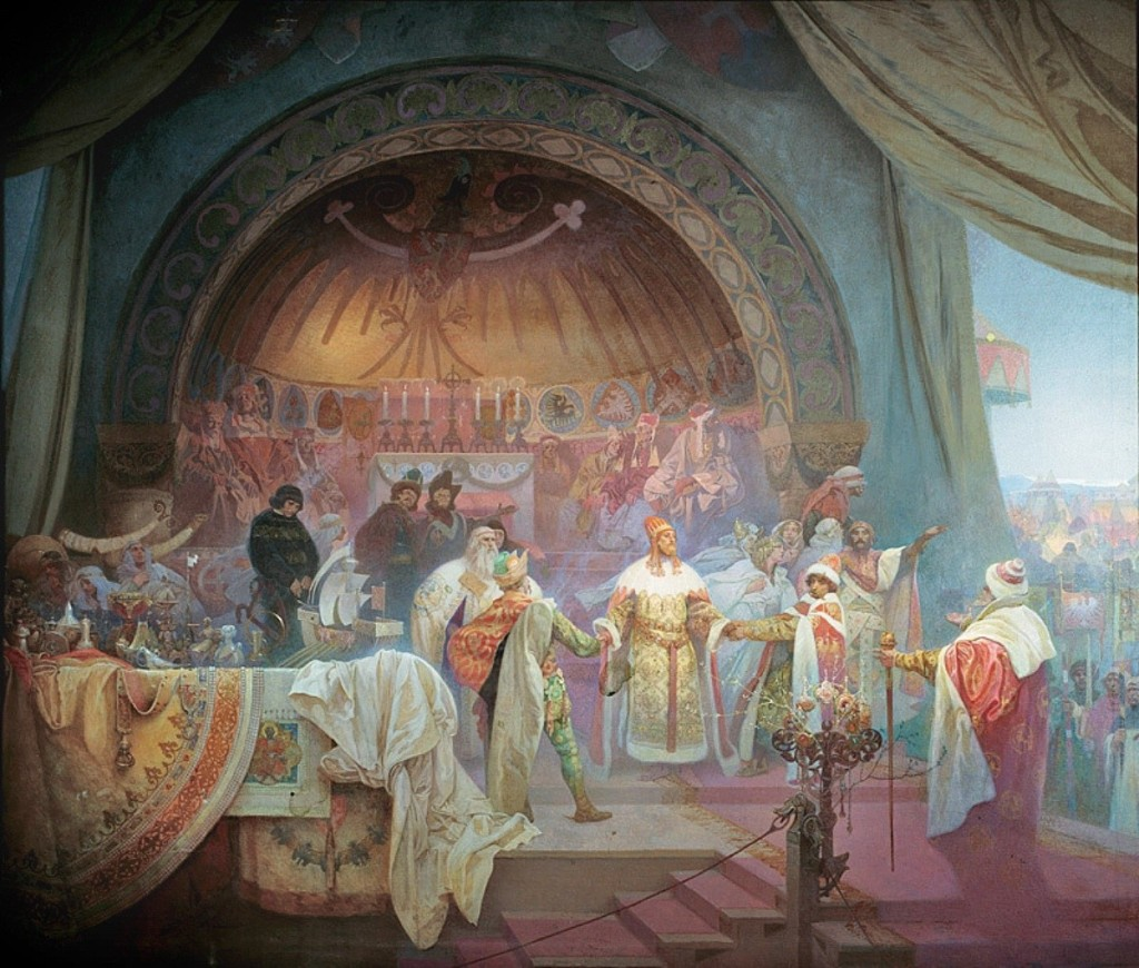 "Alfons Maria Mucha. Czech King Otakar II Přemysl: The Union of Slavonic Dynasties (from the cycle, ""The Slavonic Epic"", nr 5). 1924"