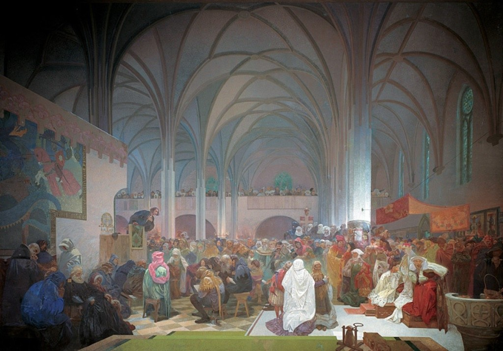 00 8-Alfons Maria Mucha. Sermon of Magister Jan Hus at the Betlémské Chapel. Truth Prevails (from the Slavonic Epic, nr 8). 1916