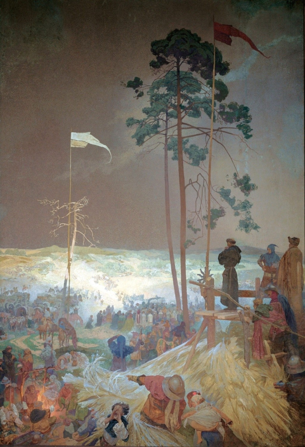 "Alfons Maria Mucha. Václav Koranda: The Assembly at Křížkách... ""Sub Utraque"" (from the cycle, ""The Slavonic Epic"", nr 9). 1916"
