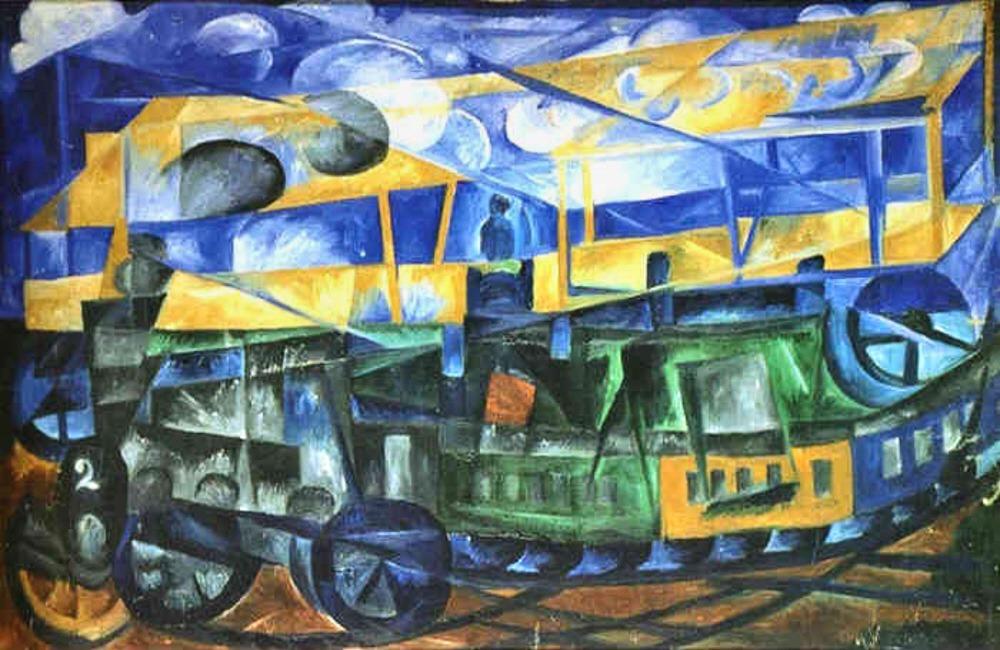 natalia goncharova the plane over the train 1913 art