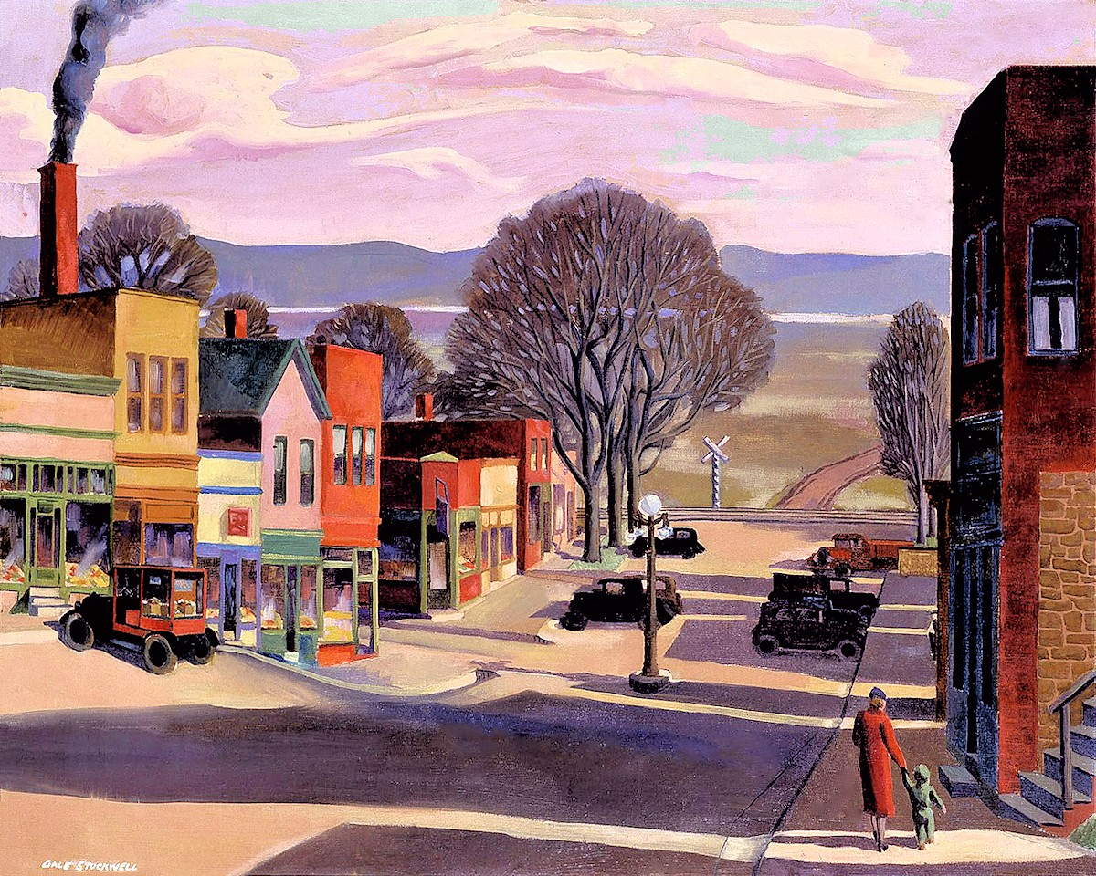 00 Gale Stockwell. Parkville (Missouri), Main Street. 1934