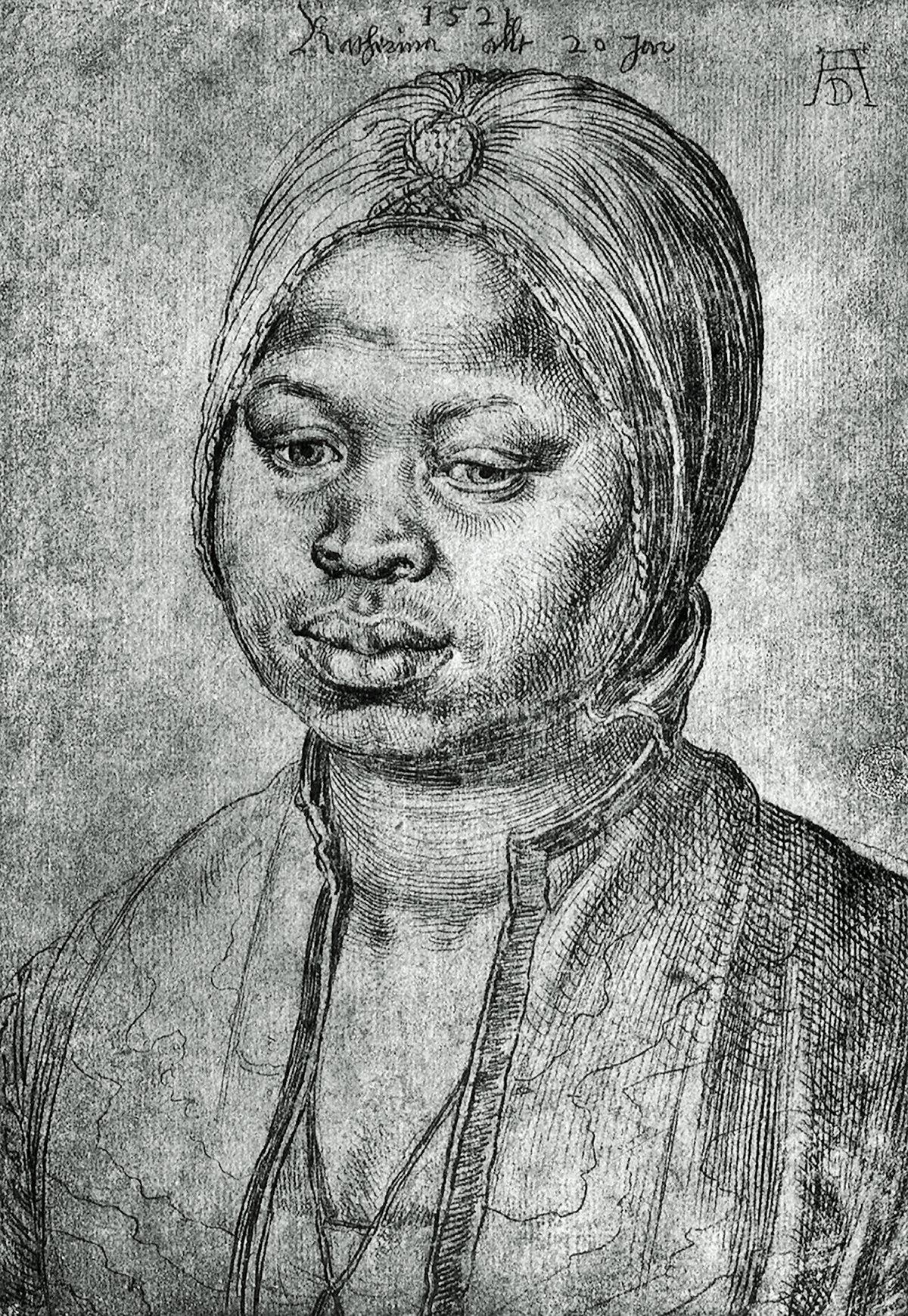 00 Albrecht Dürer. Portrait of an African Woman Katherina. 1521